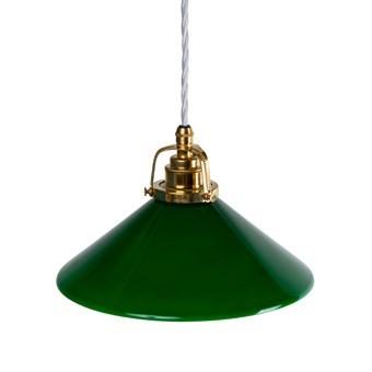 Skomakarlampa grön 25 cm, vit sladd
